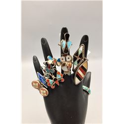 Group of 10 Vintage Inlay Rings