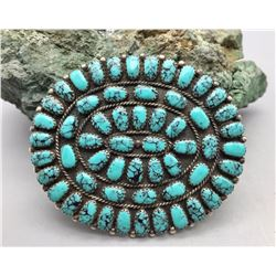 Nice, Webbed Turquoise and Sterling Silver Pin/Pendant