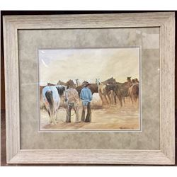 "Original Teal Blake Watercolor ""Morning Mounts"""