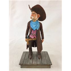 Cecil Wakefield Wood Carving - Cowboy with Gun