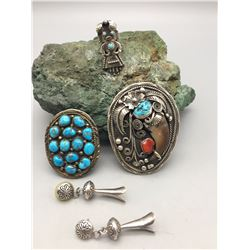 Group Earrings, Ring, Pin and Bolo Slide