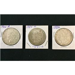 3 Antique Silver Dollars