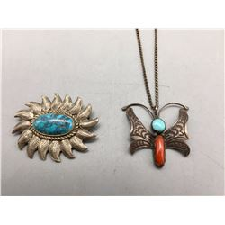 Vintage Butterfly Necklace and Pin