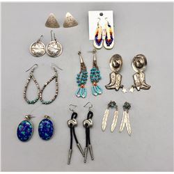 Group of Nine Pairs of Earrings