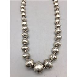 "Sterling Silver Bead ""Navajo Pearl"" Necklace"
