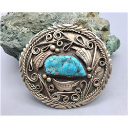 Turquoise and Sterling Silver Belt Buckle