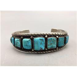 Vintage, Ingot Nine Stone Turquoise Bracelet