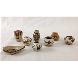 Eight Mini Pots - Various Pueblo Artists