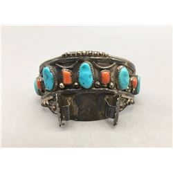 Vintage Turquoise and Coral Watch Cuff