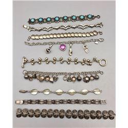 Group of 9 Sterling Silver Link Bracelets