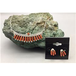 Coral and Sterling Necklace Set