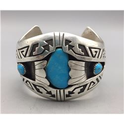 Three Stone Turquoise and Sterling Silver Bracelet