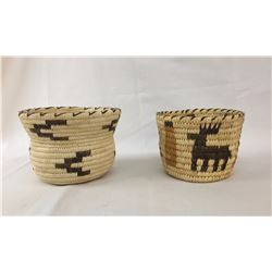 Two Tohono O'Odham Design Baskets