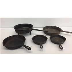 Group of Vintage Cast Iron Skillets