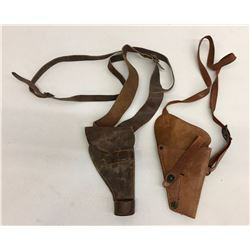 2 Vintage Leather Shoulder Holsters