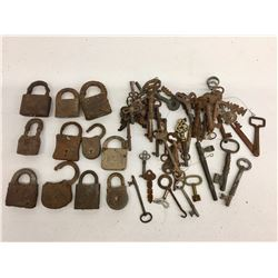 Group of Antique Locks and Skeleton Keys, Etc.