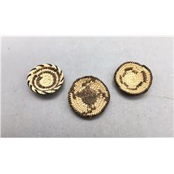Three Fine Miniature Pima Baskets