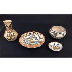 Group of 4 Mid-Century Acoma Pottery