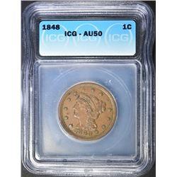 1848 LARGE CENT ICG AU-50