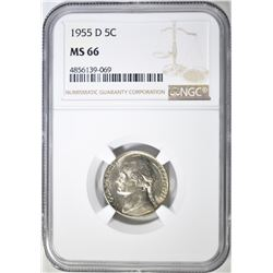 1955-D JEFFERSON NICKEL NGC MS-66