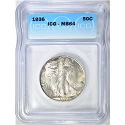 1936 WALKING LIBERTY HALF ICG MS-64
