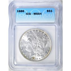1886 MORGAN DOLLAR, ICG MS-64