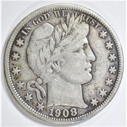 1908-D BARBER HALF DOLLAR VF/XF