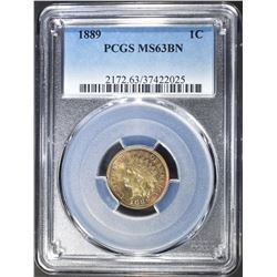 1889 INDIAN CENT PCGS MS-63 BN GREAT COLORS