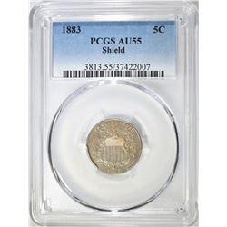 1883 SHIELD NICKEL PCGS AU-55