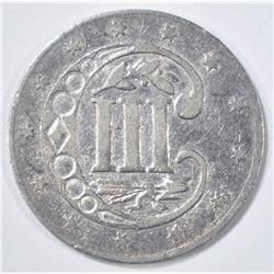 1858 3-CENT SILVER, AU