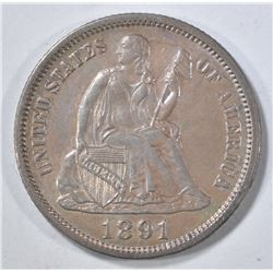 1891 SEATED LIBERTY DIME, AU/BU