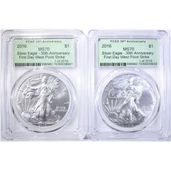 (2) 2016 30TH ANN. FIRST DAY AMERICAN SILVER EAGLE
