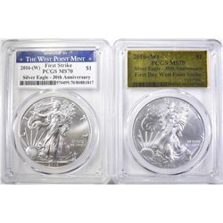 (2) 2016 -W 30TH ANN. AMERICAN SILVER EAGLE