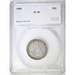 1860 SEATED LIBERTY QUARTER SEGS EF
