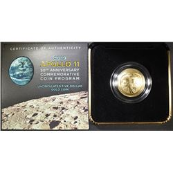2019 UNCIRC $5 GOLD APOLLO 11 50TH ANNIV COMMEM