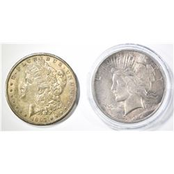 1897-S MORGAN DOLLAR AU W/ TONING & 1922