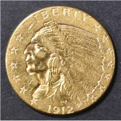 1912 GOLD $2.5 INDIAN HEAD  BU