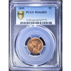 1895 INDIAN CENT, PCGS MS-66 RED BLAZER!!!