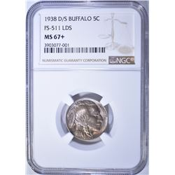 1938-D/S BUFFALO NICKEL, NGC MS-67+