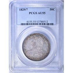 1829/7 BUST HALF DOLLAR, PCGS AU-55