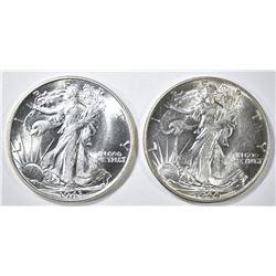 1943 & 44 WALKING LIBERTY HALF DOLLARS CH BU