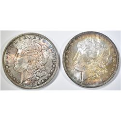 2-1884-O MORGAN DOLLARS CH BU WITH COLOR!