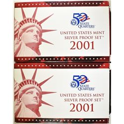 2-2001 U.S. SILVER PROOF SETS ORIG PACKAGING