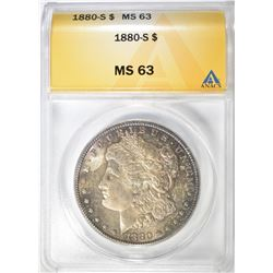 1880-S MORGAN DOLLAR, ANACS MS-63