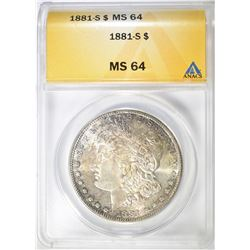 1881-S MORGAN DOLLAR, AMACS MS-64