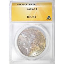 1883-O MORGAN DOLLAR, ANACS MS-64