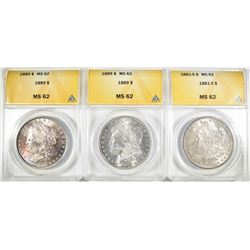 1881-S & 2-1889 MORGAN DOLLARS, ANACS MS-62