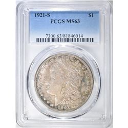 1921-S MORGAN DOLLAR, PCGS MS-63 LOTS OF COLOR!