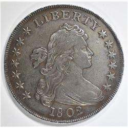 1802/1 DRAPED BUST DOLLAR CH AU