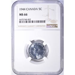 1944 CANADA NICKEL NGC MS-66